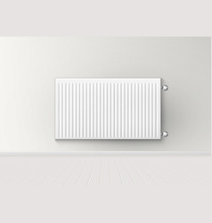3d realistic aluminum battery radiator on wall vector image