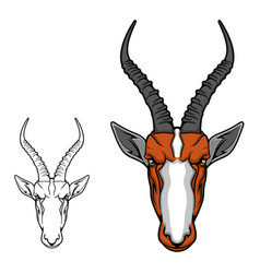 african antelope impala head gazelle mascot vector image