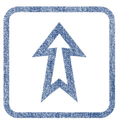 arrow up fabric textured icon vector image