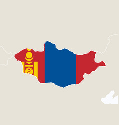 Asia with highlighted mongolia map vector