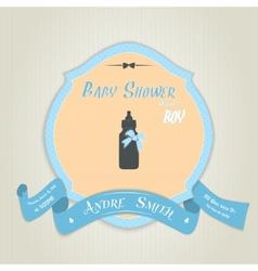 Baby shower invitation with milk bottle vector