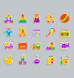 baby toy patch sticker icons set vector image