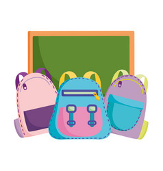 back to school chalkboard and backpacks vector image