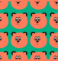 bear head pattern on white background vector image