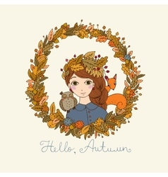 Beautiful young girl in a wreath vector