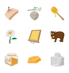 Beekeeping farm icons set cartoon style vector image
