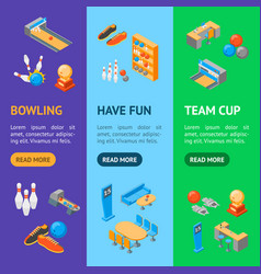 bowling game banner vecrtical set isometric view vector image