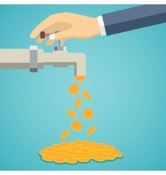 Business hand open tap with gold coins vector image