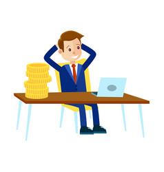 businessman sits at office table vector image