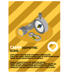 Camp color isometric poster vector