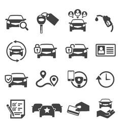 Car sharing black glyph icons set vector