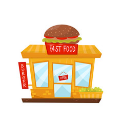 cartoon flat icon of fast food restaurant vector image