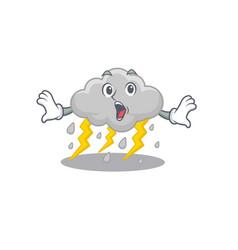 Cartoon style cloud stormy has a surprised gesture vector