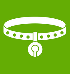 cat collar icon green vector image