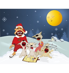 Cats and Santa Claus sing Christmas hymns vector image