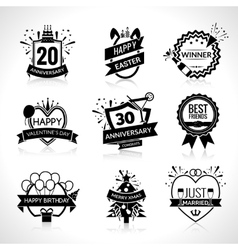 Celebration Black Emblems Set vector image
