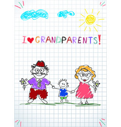 Children colorful hand drawn greeting card with vector