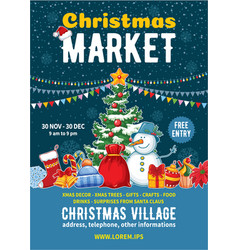 Christmas market poster template vector