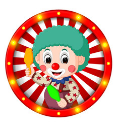 clown banner with bright bulbs vector image