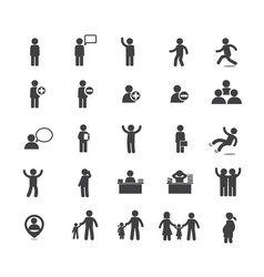 Collection of people in activities icon set vector