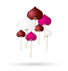 Color helium balloons heart shape for love and vector