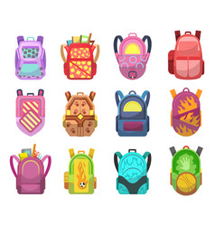 colored school backpacks set education and study vector image