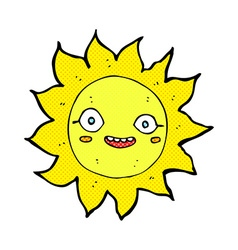 Comic cartoon happy sun vector