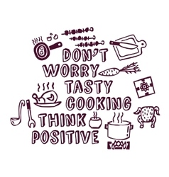 Cooking poster positive thing objects ink vector
