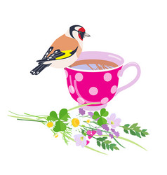 Cup tea goldfinch and wildflowers bunch vector