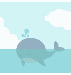 cute big whale fish in sea vector image