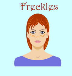 cute freckled redhaired young woman portrait for vector image
