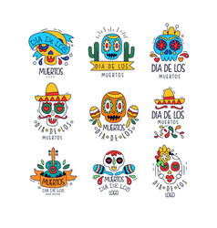 Dia de los muertos logo design set mexican day of vector