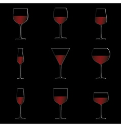 Different glasses of red wine set isolated in vector