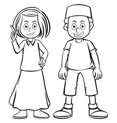 doodles character girl and boy vector image