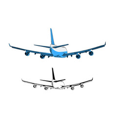 drawing airplane in blue color isolated vector image