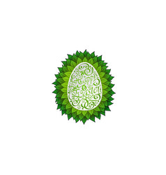 egg with leaves vector image
