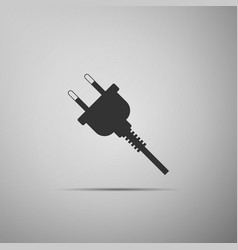 electric plug icon isolated on grey background vector image