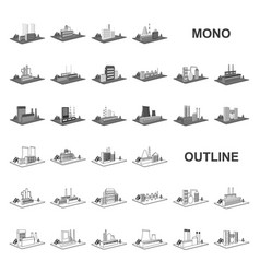 Factory and plant monochrom icons in set vector