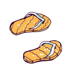 Flip flops summer footwear color hand drawn vector
