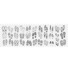 Footprints boots and foot doodle set vector