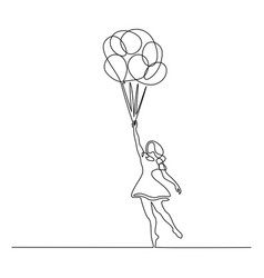 girl flying with balloon continuous one line vector image