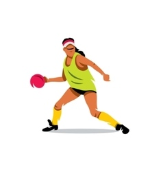 Girl playing dodge ball Cartoon vector