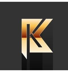 Gold Letter K Shape Logo Element vector image