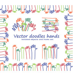 hand arms doodles lines isolated objects and frame vector image