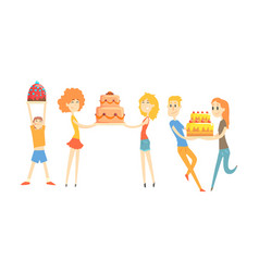 happy people with festive cakes set men and women vector image