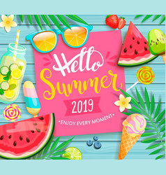 Hello summer 2019 pink card or banner vector