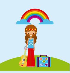 Hippie scenery cartoon vector