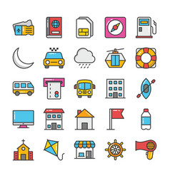 Hotel and travel colored icons set 8 vector