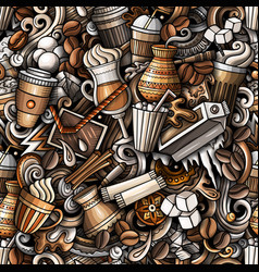 iced coffee hand drawn doodles seamless pattern vector image