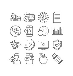 Internet usb flash and document icons cleaning vector